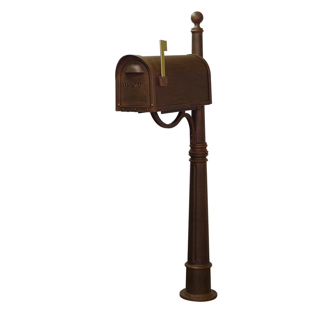 Ashland Decorative Aluminum Durable Mailbox Post with Ball Topper, Base and Mounting Bracket. Picture 11