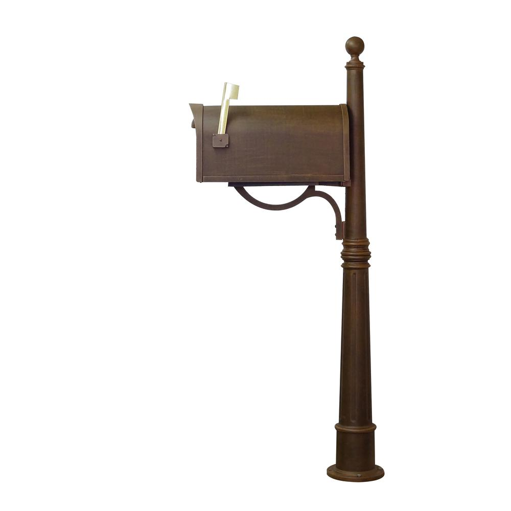 Ashland Decorative Aluminum Durable Mailbox Post with Ball Topper, Base and Mounting Bracket. Picture 14