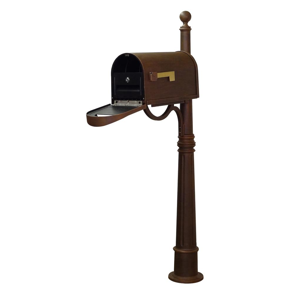 Ashland Decorative Aluminum Durable Mailbox Post with Ball Topper, Base and Mounting Bracket. Picture 8