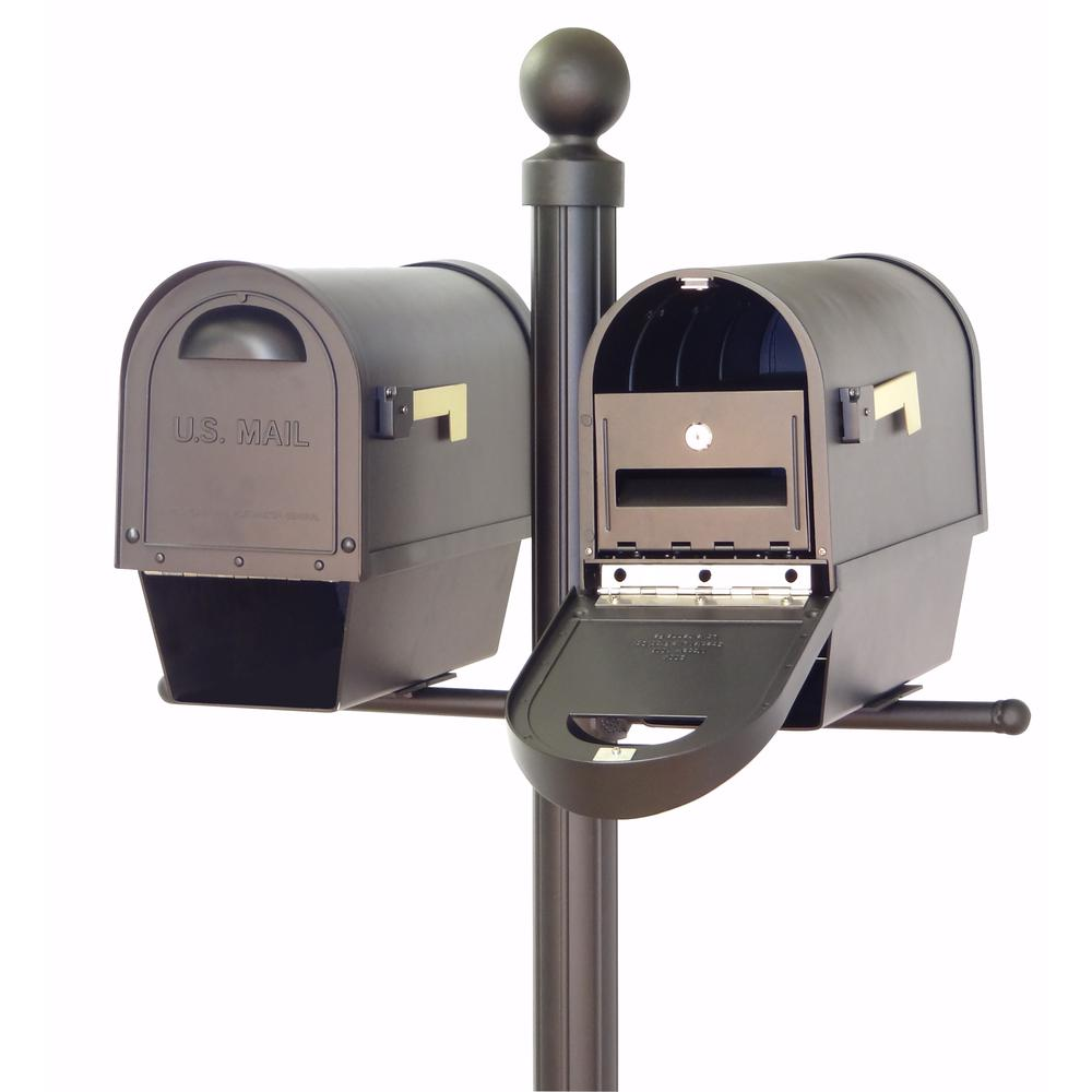Classic Curbside Mailboxes with Newspaper Tube, Locking Inserts and Fresno Double Mount Mailbox Post. Picture 2