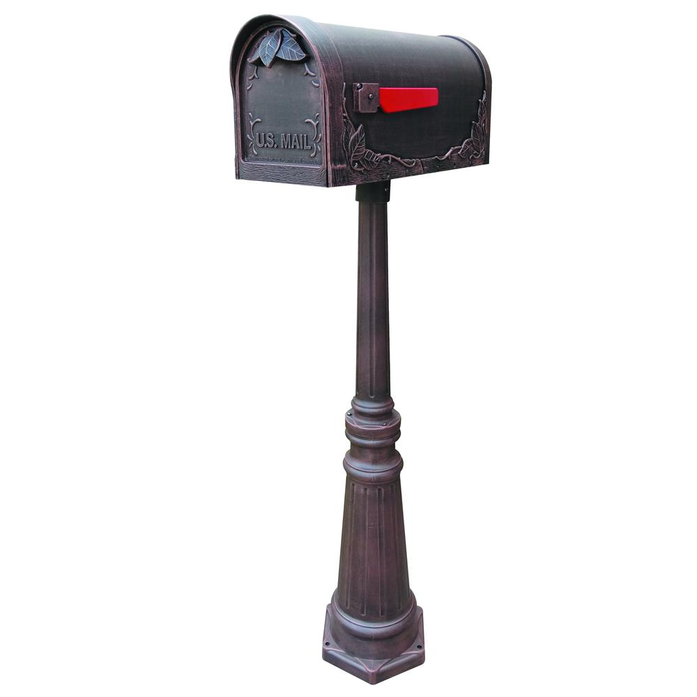 Tacoma Surface Mount Mailbox Post with Base Decorative Aluminum Top Mounting. Picture 3
