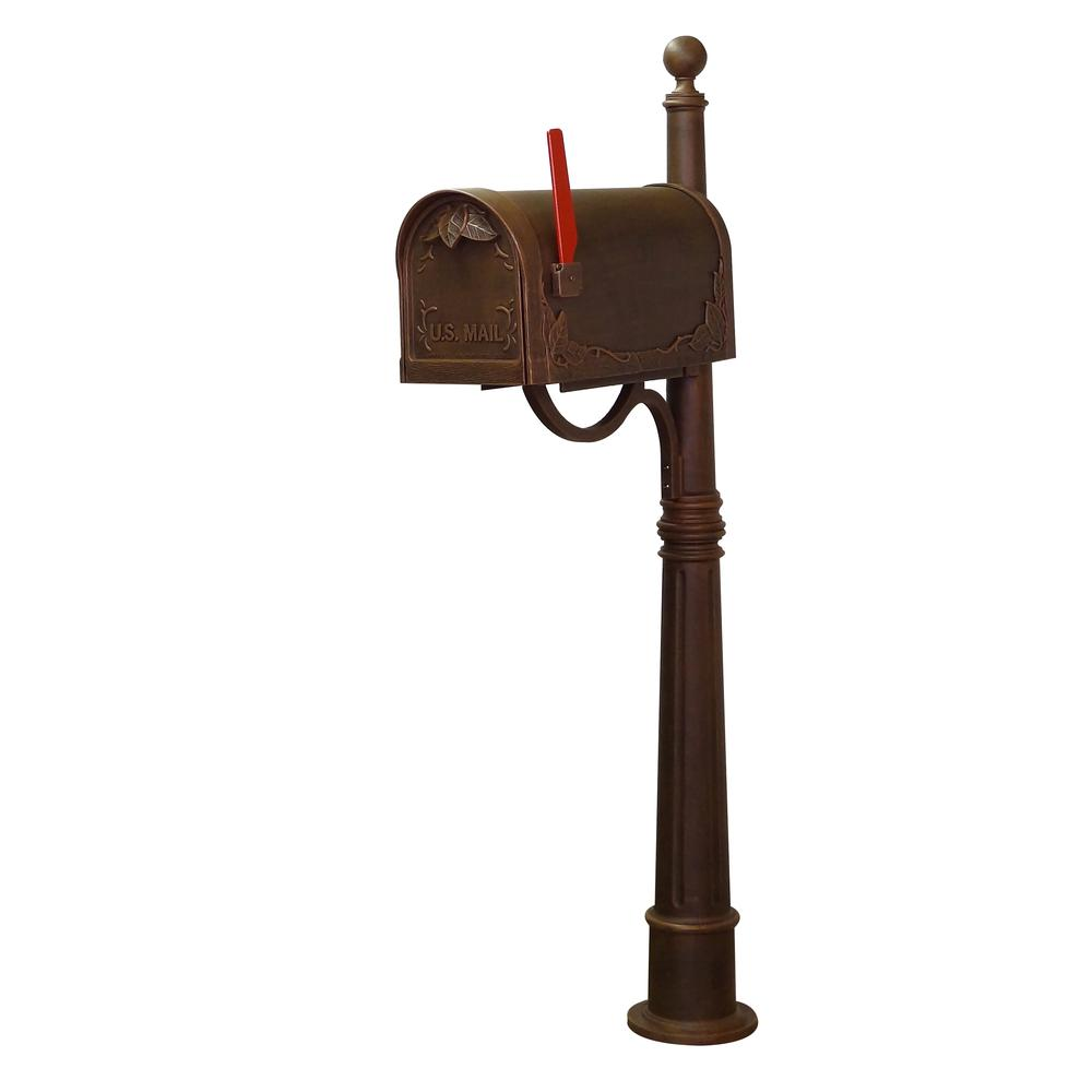 Ashland Decorative Aluminum Durable Mailbox Post with Ball Topper, Base and Mounting Bracket. Picture 19