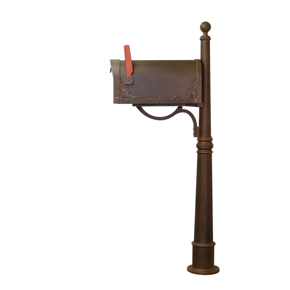 Ashland Decorative Aluminum Durable Mailbox Post with Ball Topper, Base and Mounting Bracket. Picture 22