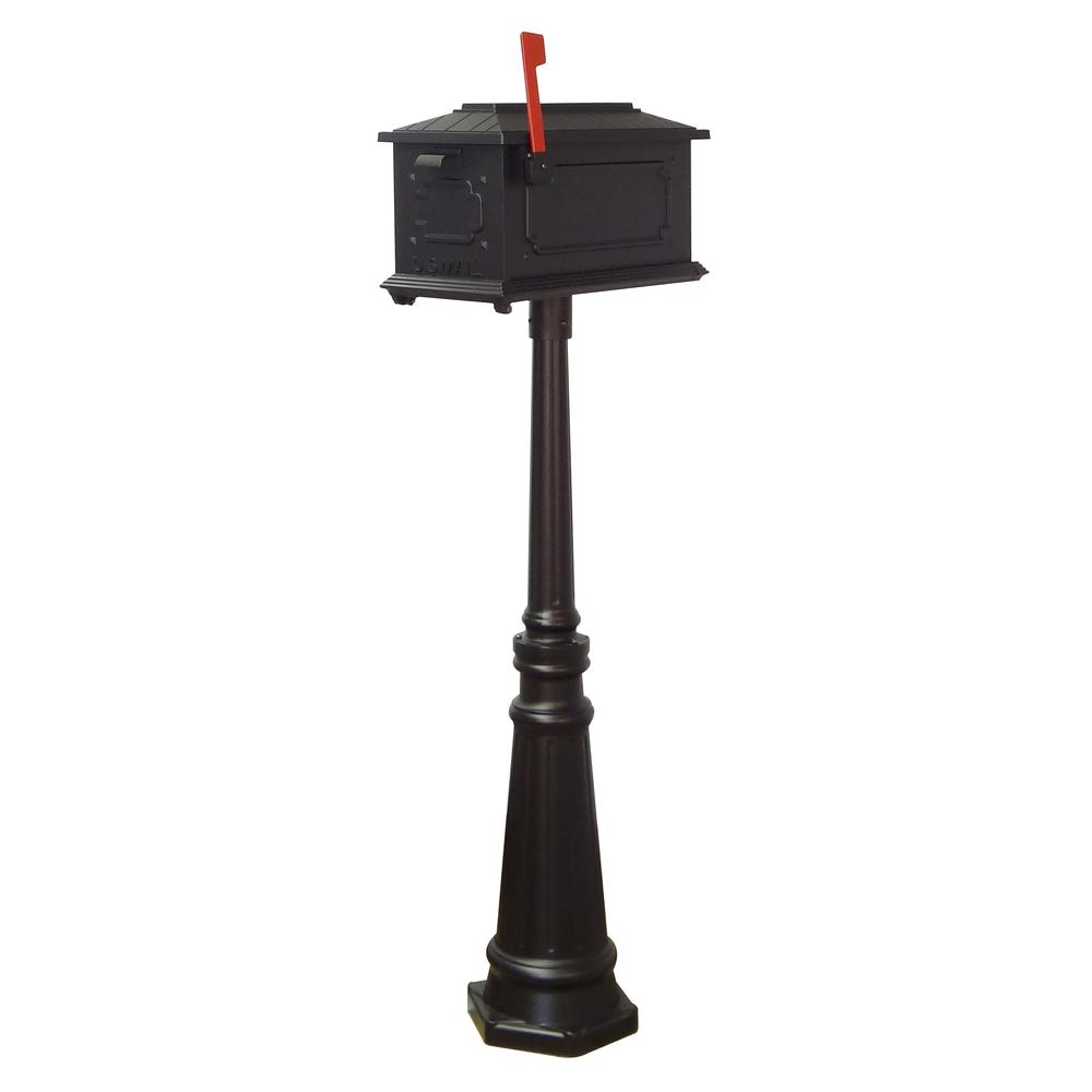 Tacoma Surface Mount Mailbox Post with Base Decorative Aluminum Top Mounting. Picture 22