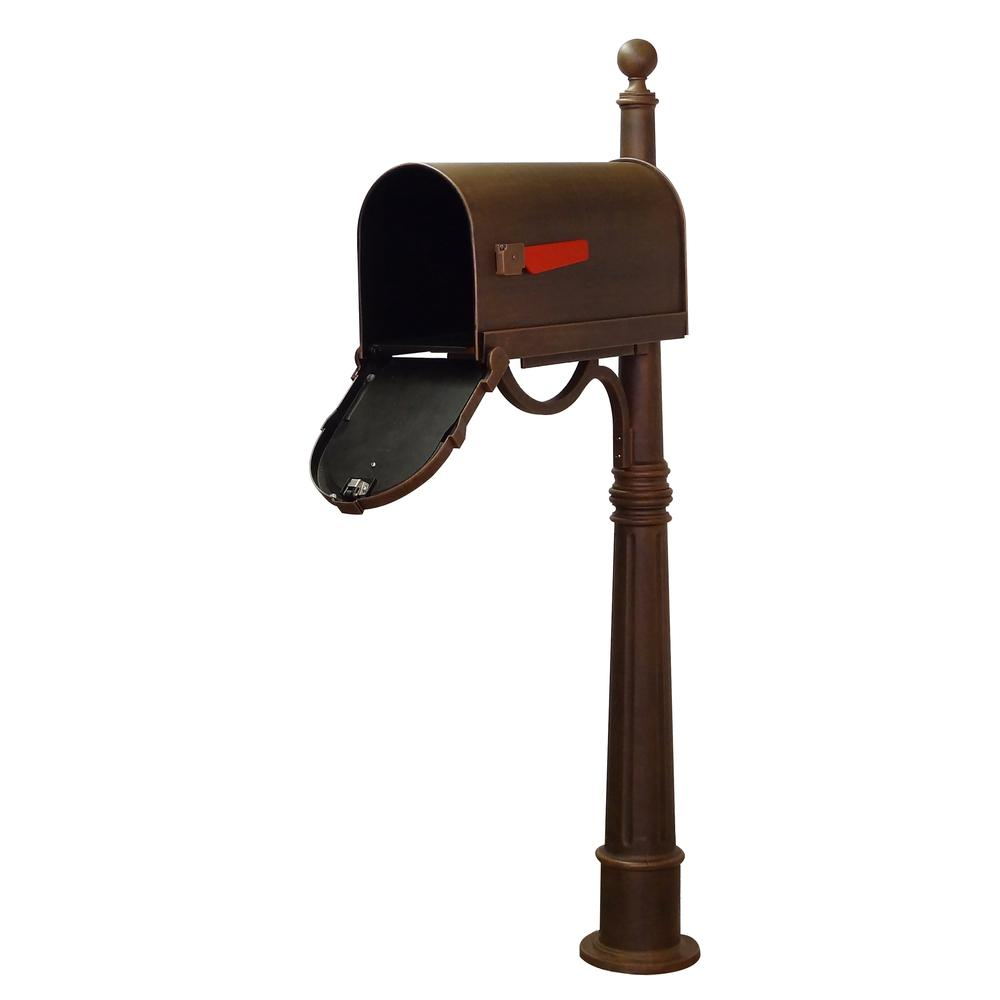 Ashland Decorative Aluminum Durable Mailbox Post with Ball Topper, Base and Mounting Bracket. Picture 28