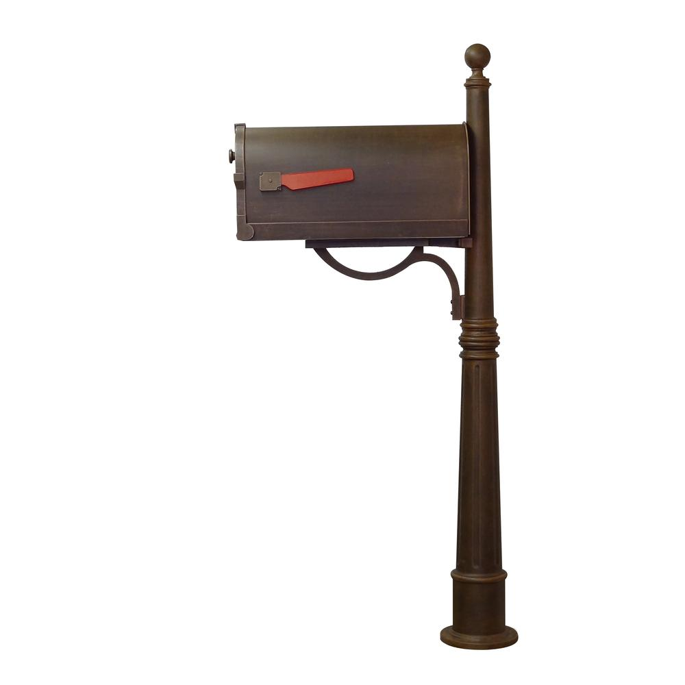 Ashland Decorative Aluminum Durable Mailbox Post with Ball Topper, Base and Mounting Bracket. Picture 29
