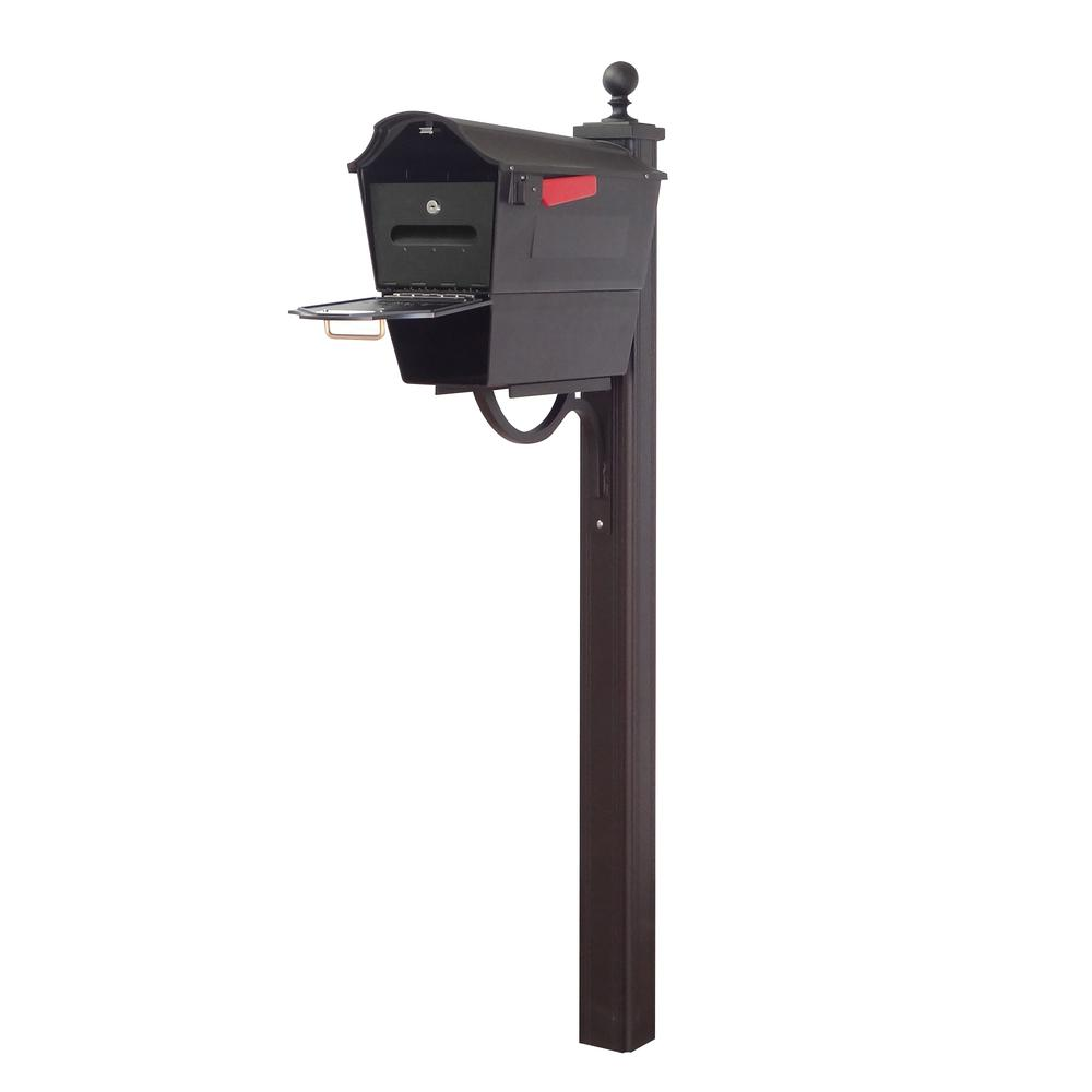 Town Square Curbside Mailbox with Newspaper Tube, Locking Insert and Main Street Mailbox Post. Picture 1