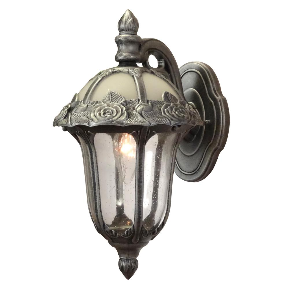 Rose Garden Small Top Mount 1 Light with Clear Seedy Glass Outdoor Wall Lantern. Picture 1