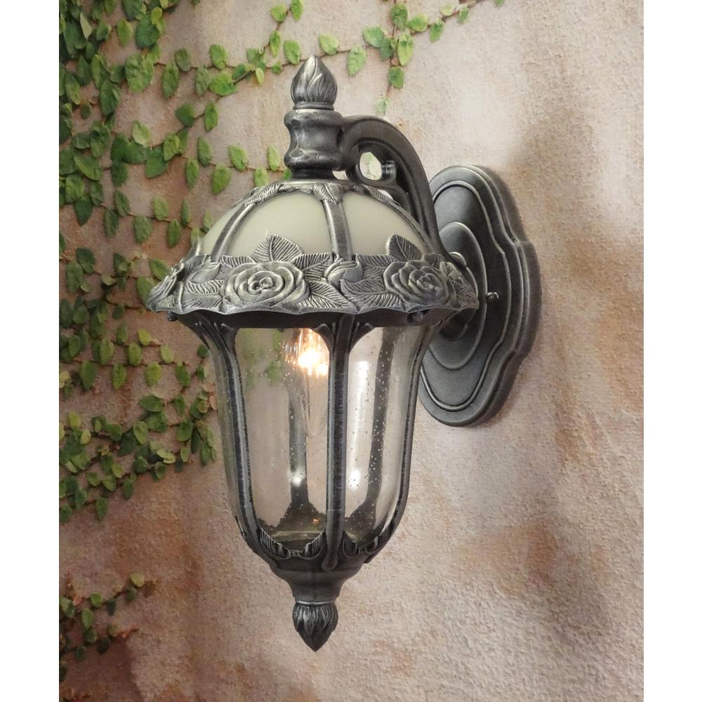 Rose Garden Small Top Mount 1 Light with Clear Seedy Glass Outdoor Wall Lantern. Picture 2