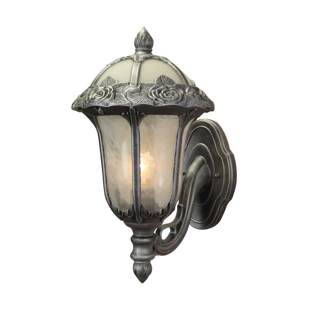 Rose Garden Small Bottom Mount 1 Light with Alabaster Glass Outdoor Wall Lantern. Picture 1
