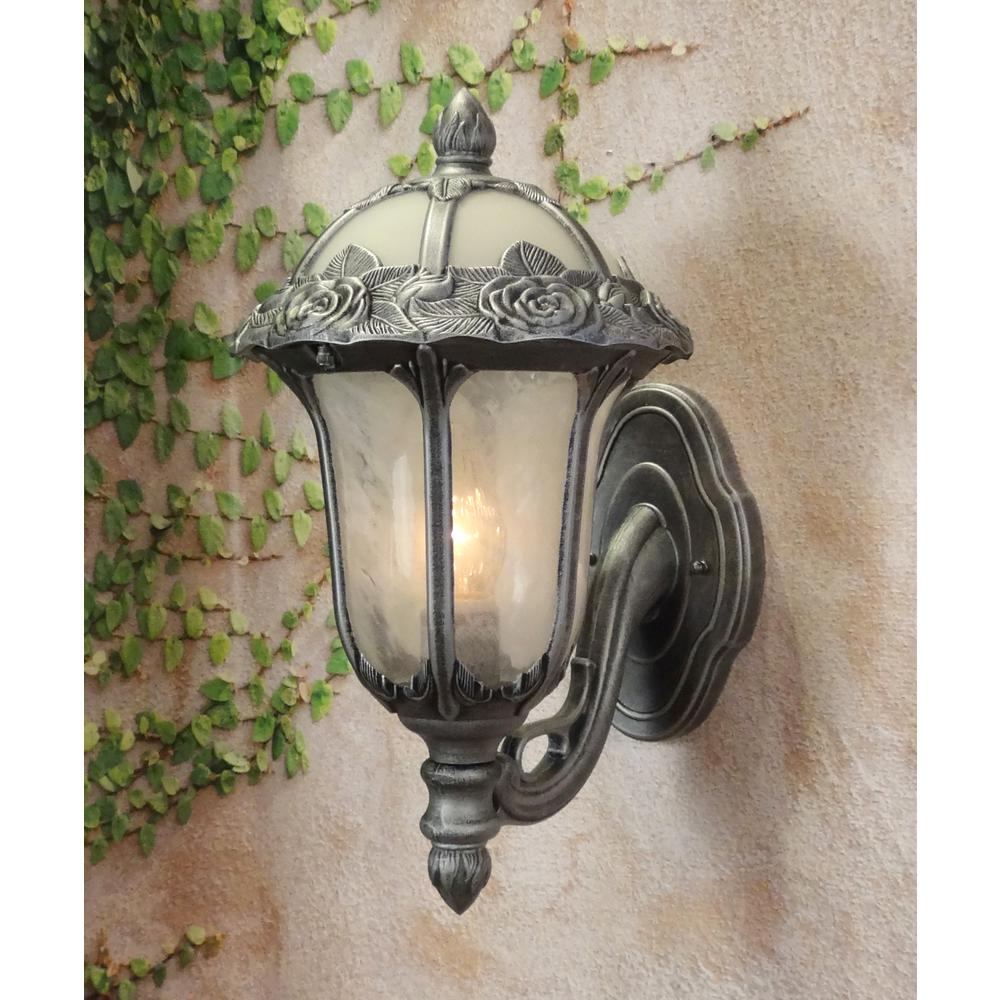 Rose Garden Small Bottom Mount 1 Light with Alabaster Glass Outdoor Wall Lantern. Picture 2