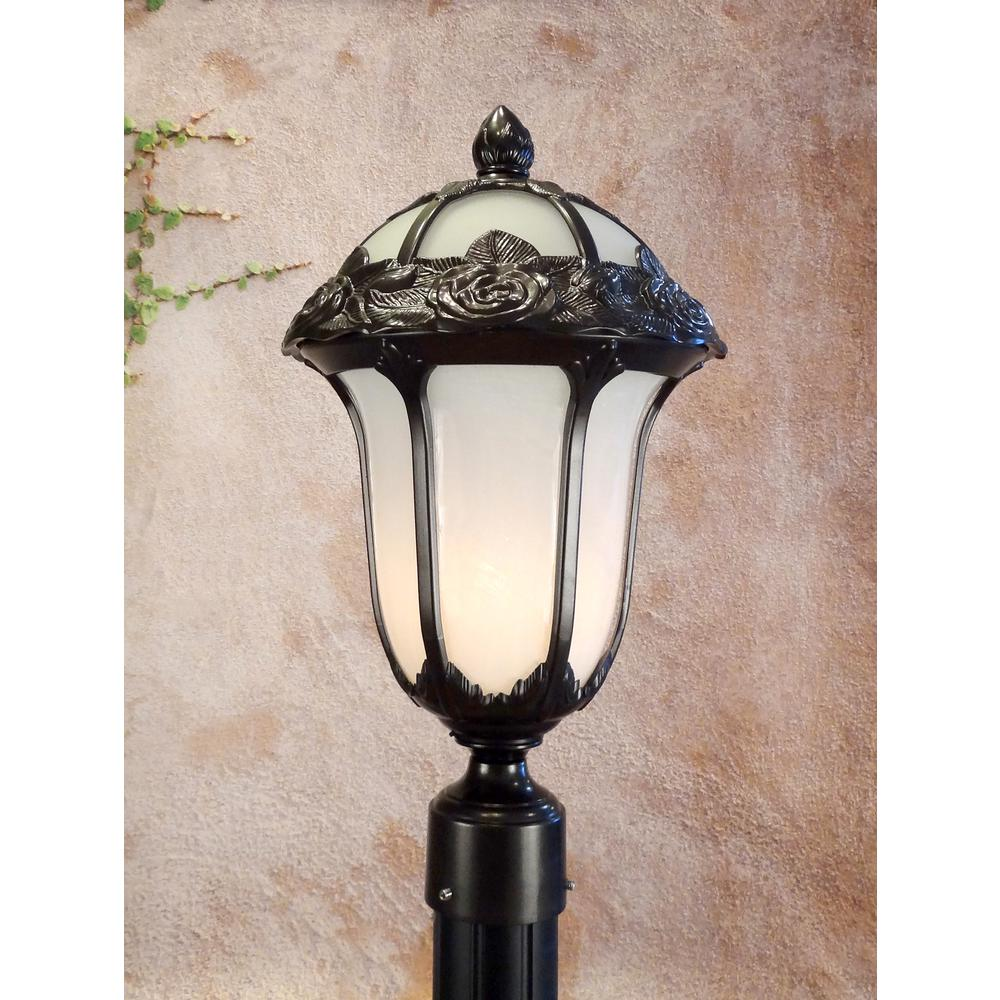 Rose Garden  Medium Post Mount Light with Alabaster Glass. Picture 2