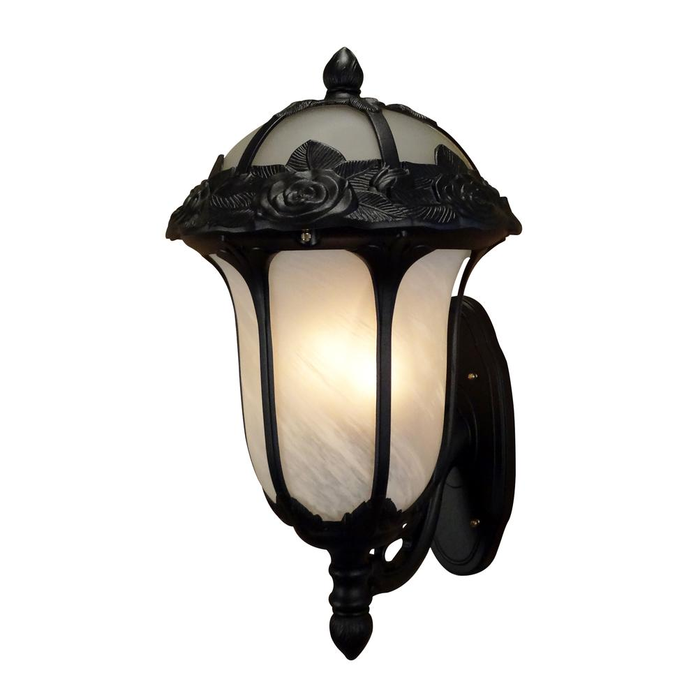 Rose Garden Large Bottom Mount Light with Alabaster Glass. Picture 1