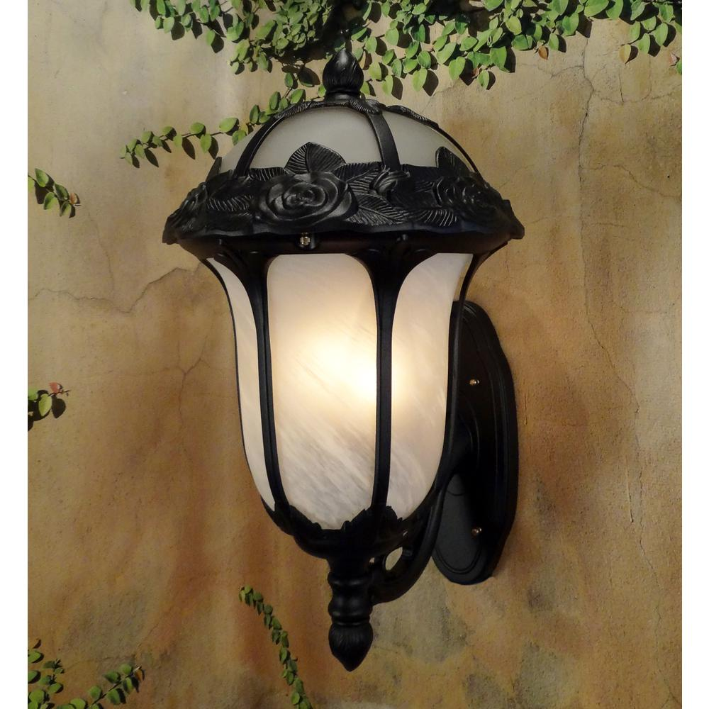 Rose Garden Large Bottom Mount Light with Alabaster Glass. Picture 2