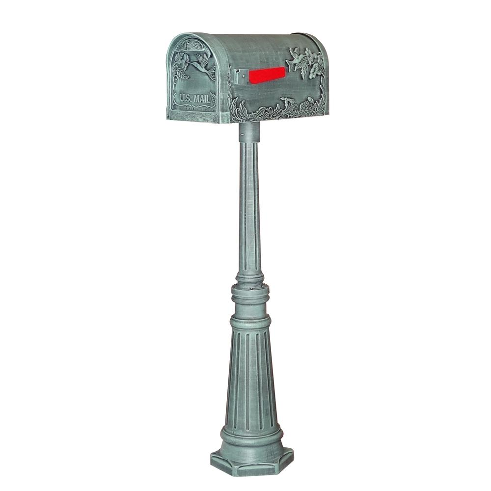 Hummingbird Curbside Mailbox and Tacoma Surface Mount Mailbox Post Decorative Aluminum. Picture 1