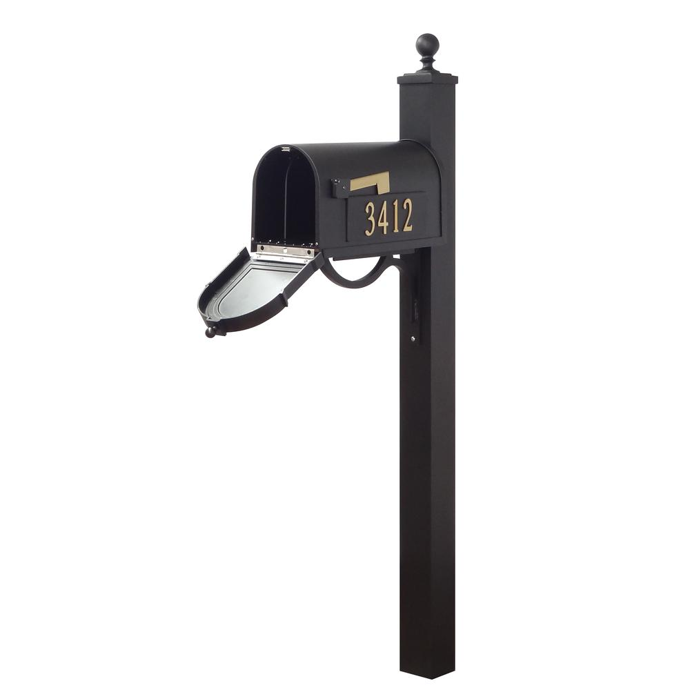 Berkshire Curbside Mailbox with Front and Side Address Numbers and Springfield Mailbox Post. Picture 4