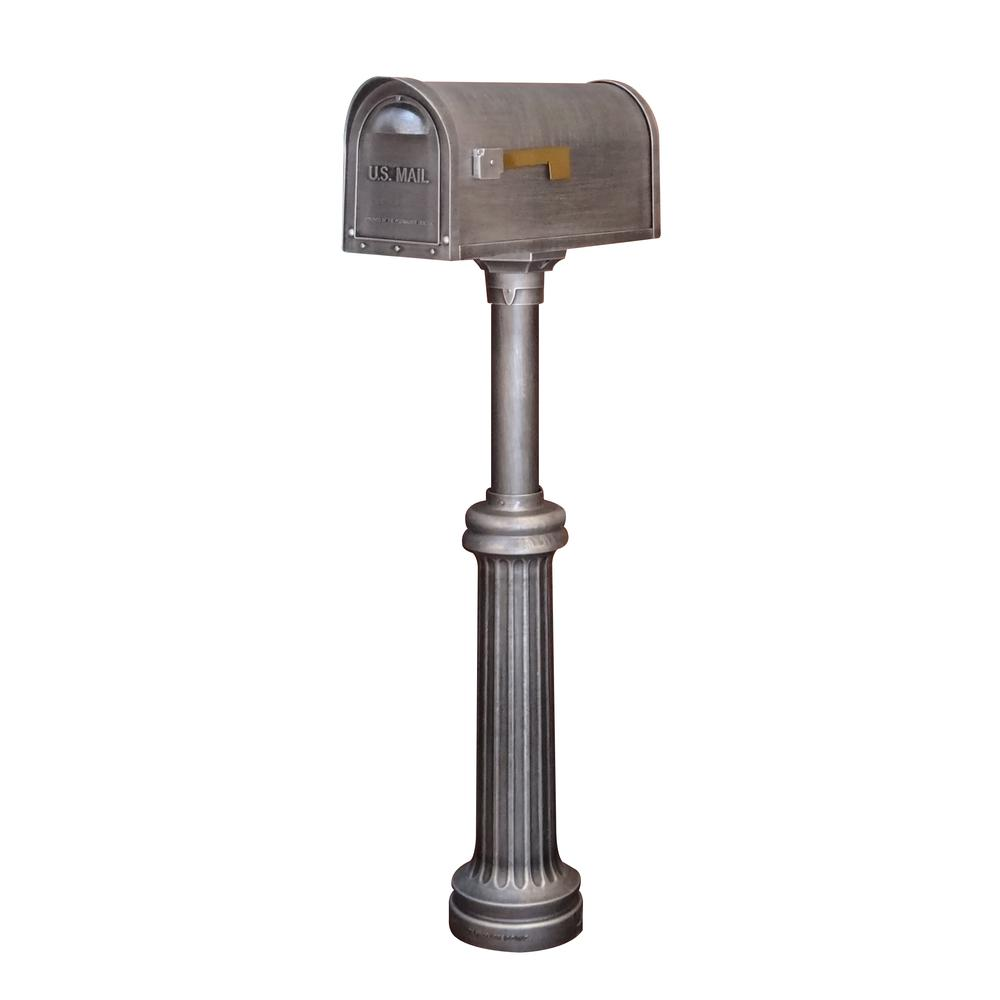 Classic Curbside Mailbox and Bradford Direct Burial Top Mount Mailbox Post Decorative Aluminum. Picture 1