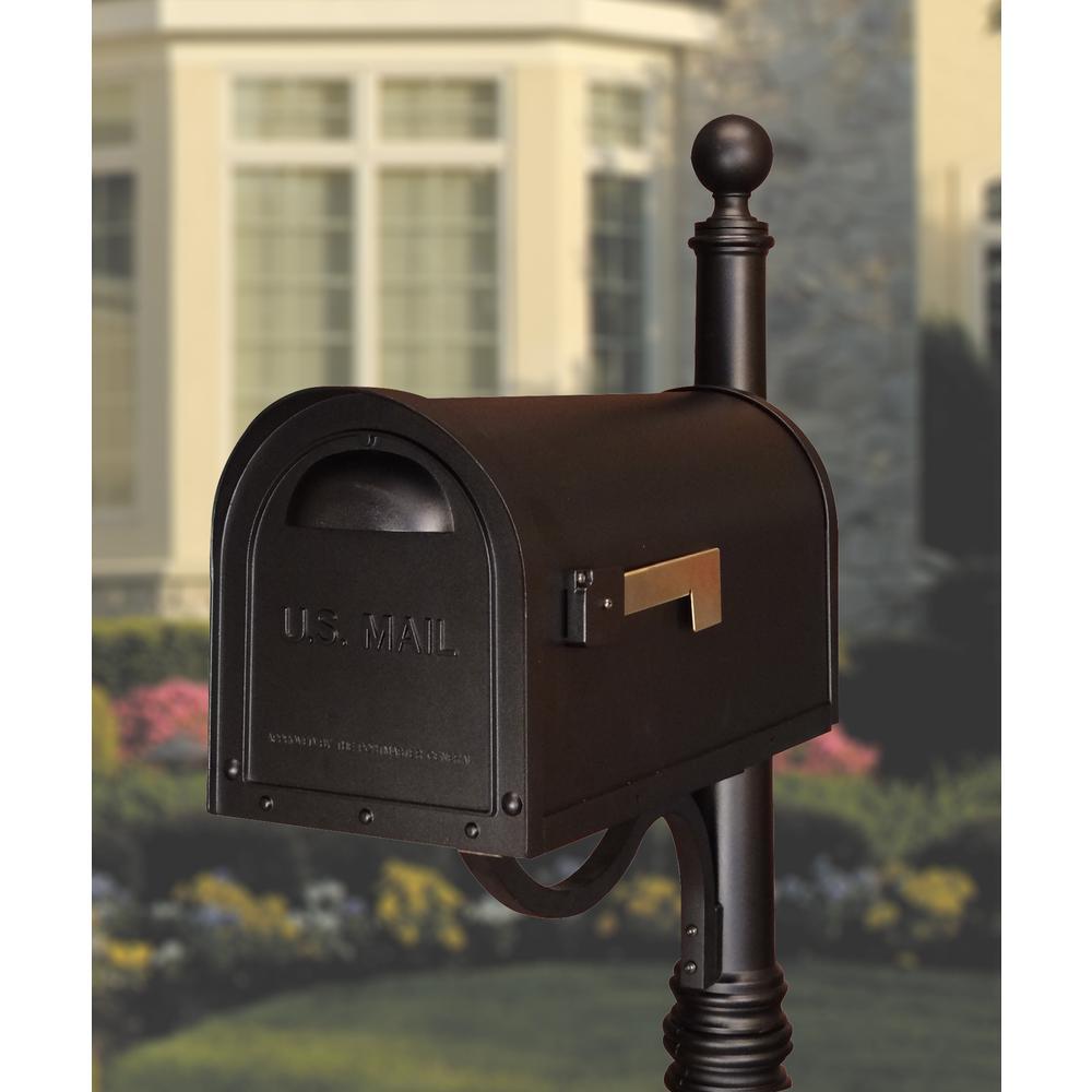 Classic Curbside Mailbox Decorative Solid Cast Aluminum Mailbox. Picture 4