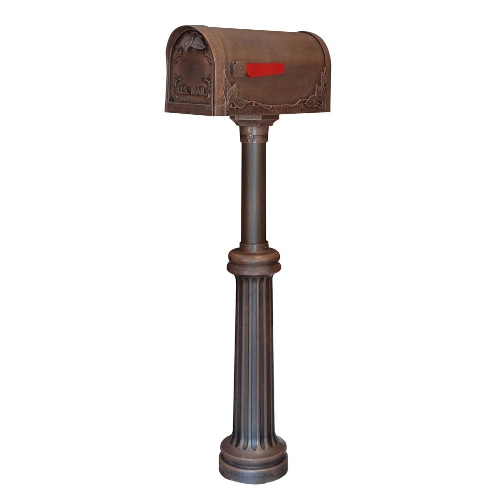 Floral Curbside Mailbox Bradford Direct Burial Top Mount Mailbox Post Decorative Aluminum. Picture 1