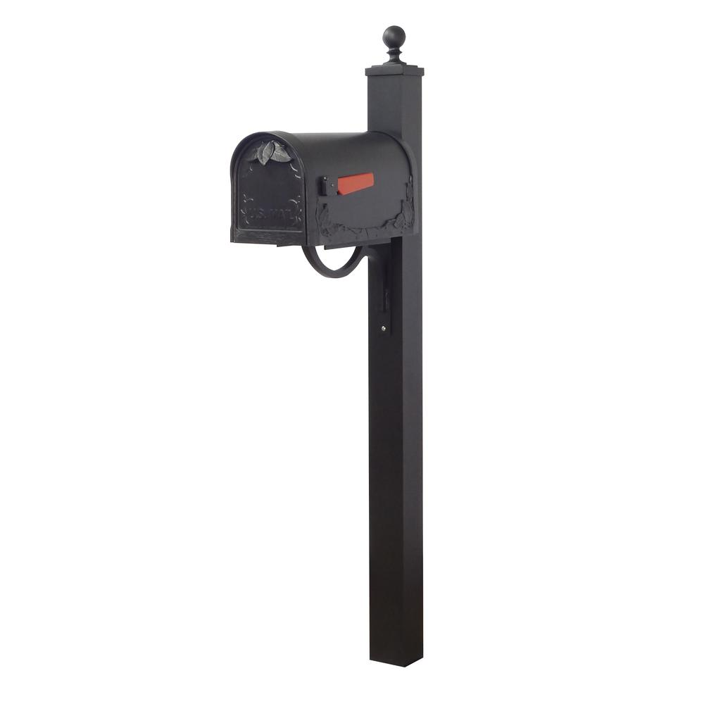 Floral Curbside Mailbox and Springfield Direct Burial Mailbox Post Smooth Square. Picture 1