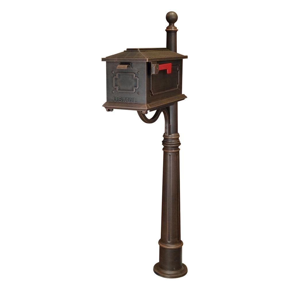 Ashland Decorative Aluminum Durable Mailbox Post with Ball Topper, Base and Mounting Bracket. Picture 24