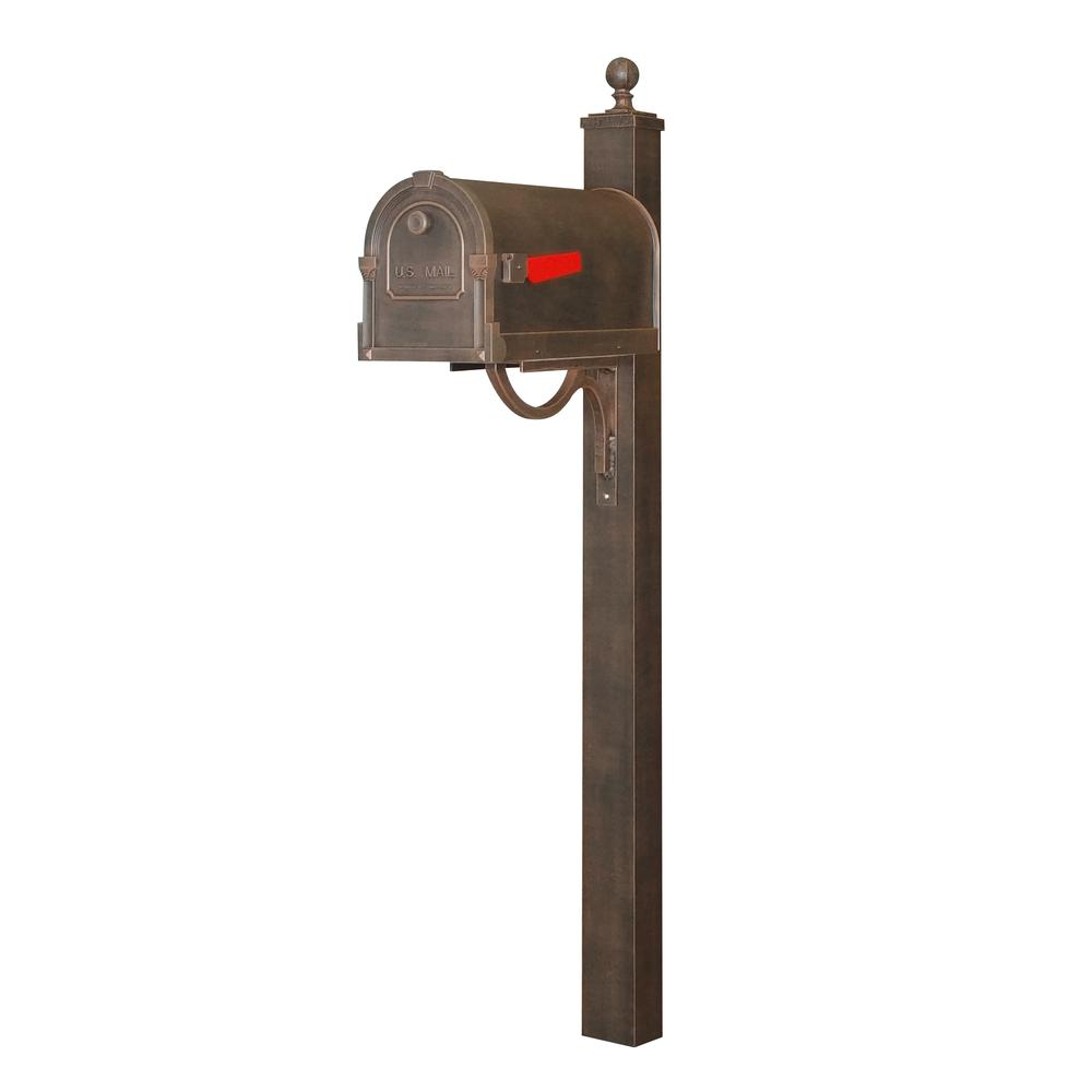 Savannah Curbside Mailbox and Springfield Direct Burial Mailbox Post Smooth Square. Picture 1