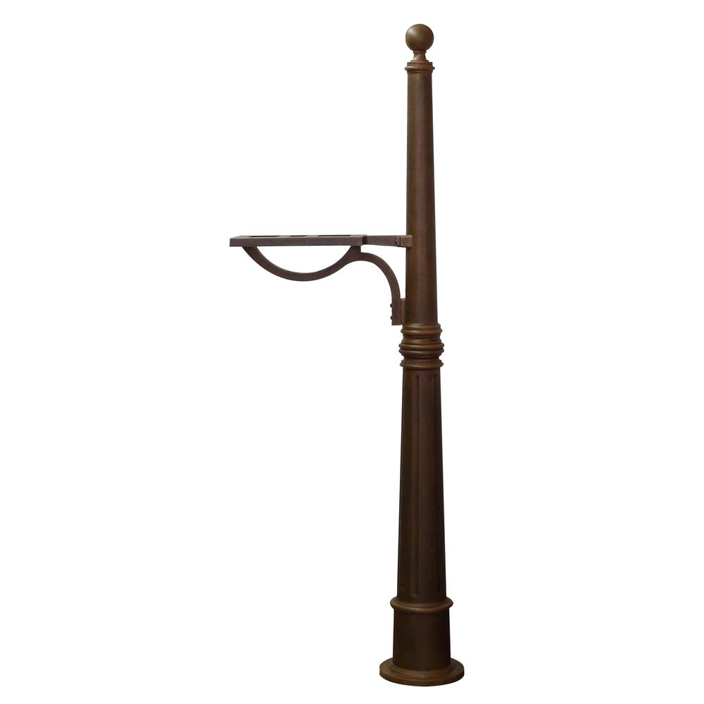 Ashland Decorative Aluminum Durable Mailbox Post with Ball Topper, Base and Mounting Bracket. Picture 35
