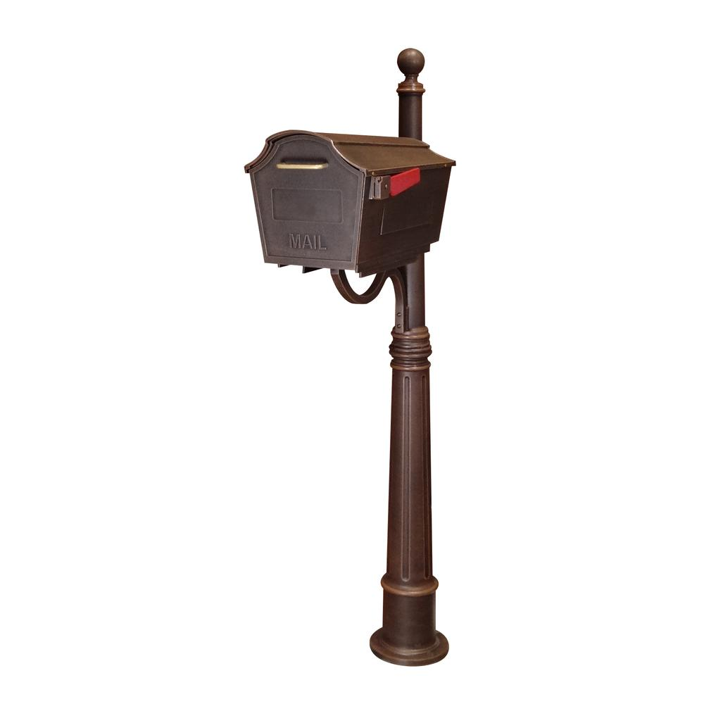 Ashland Decorative Aluminum Durable Mailbox Post with Ball Topper, Base and Mounting Bracket. Picture 37