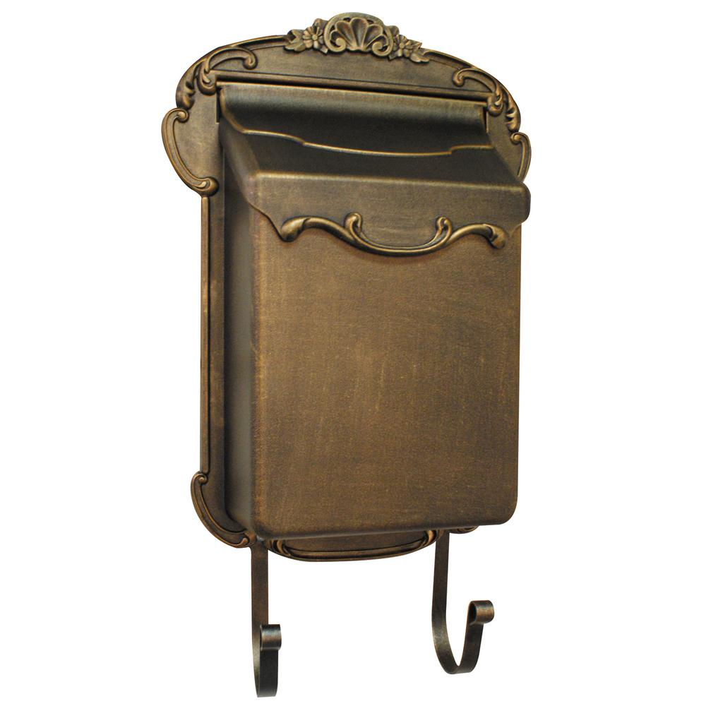 Victoria Vertical Mailbox Residential Wall Mount Aluminum Decorative Design Old World Décor. Picture 1