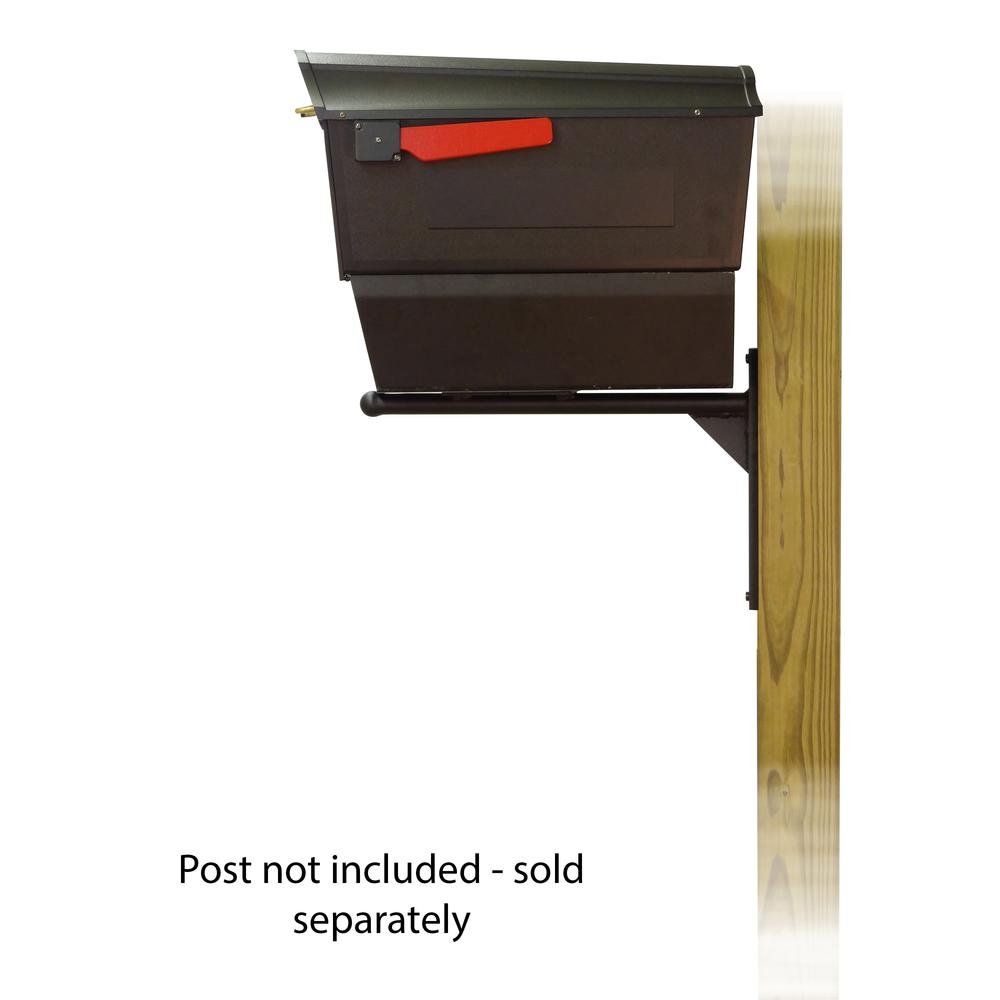 Town Square Curbside Mailbox with Newspaper tube and Ashley front single mailbox mounting bracket. Picture 3