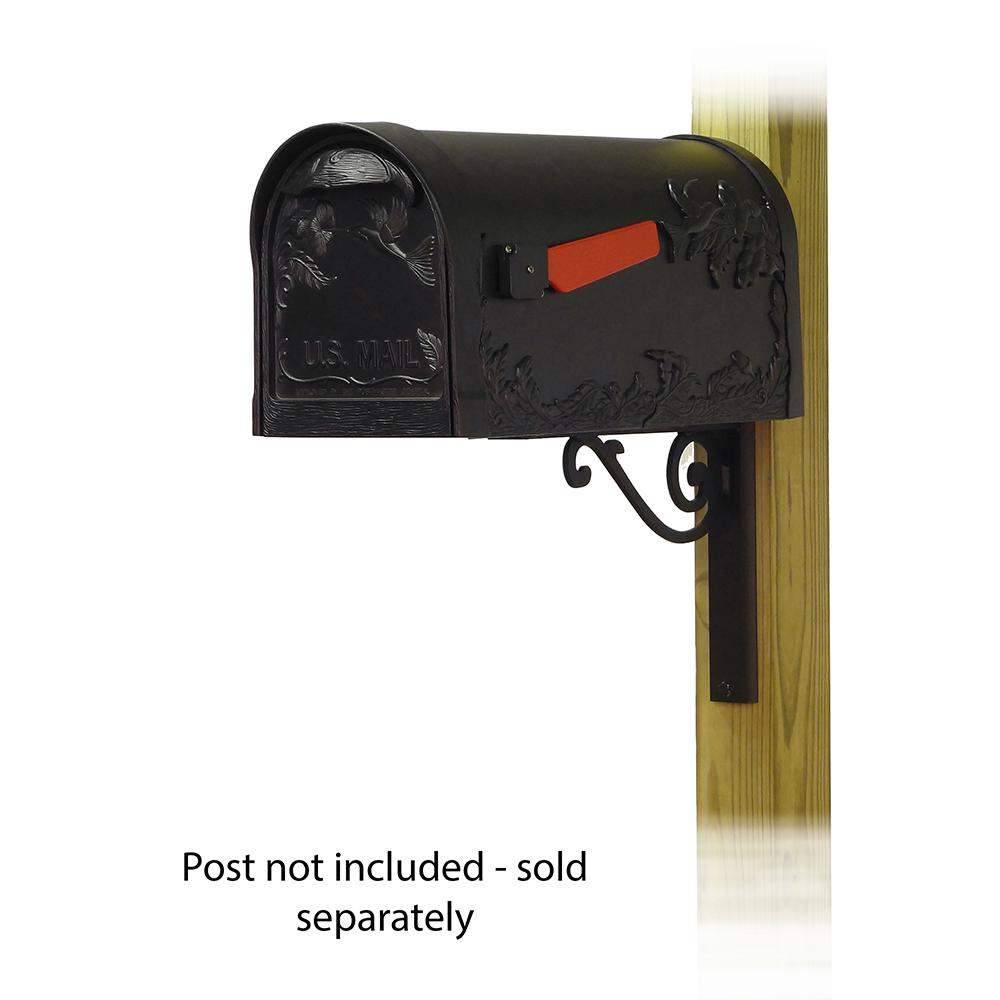 Hummingbird Curbside Mailbox with Baldwin front single mailbox mounting bracket. Picture 1