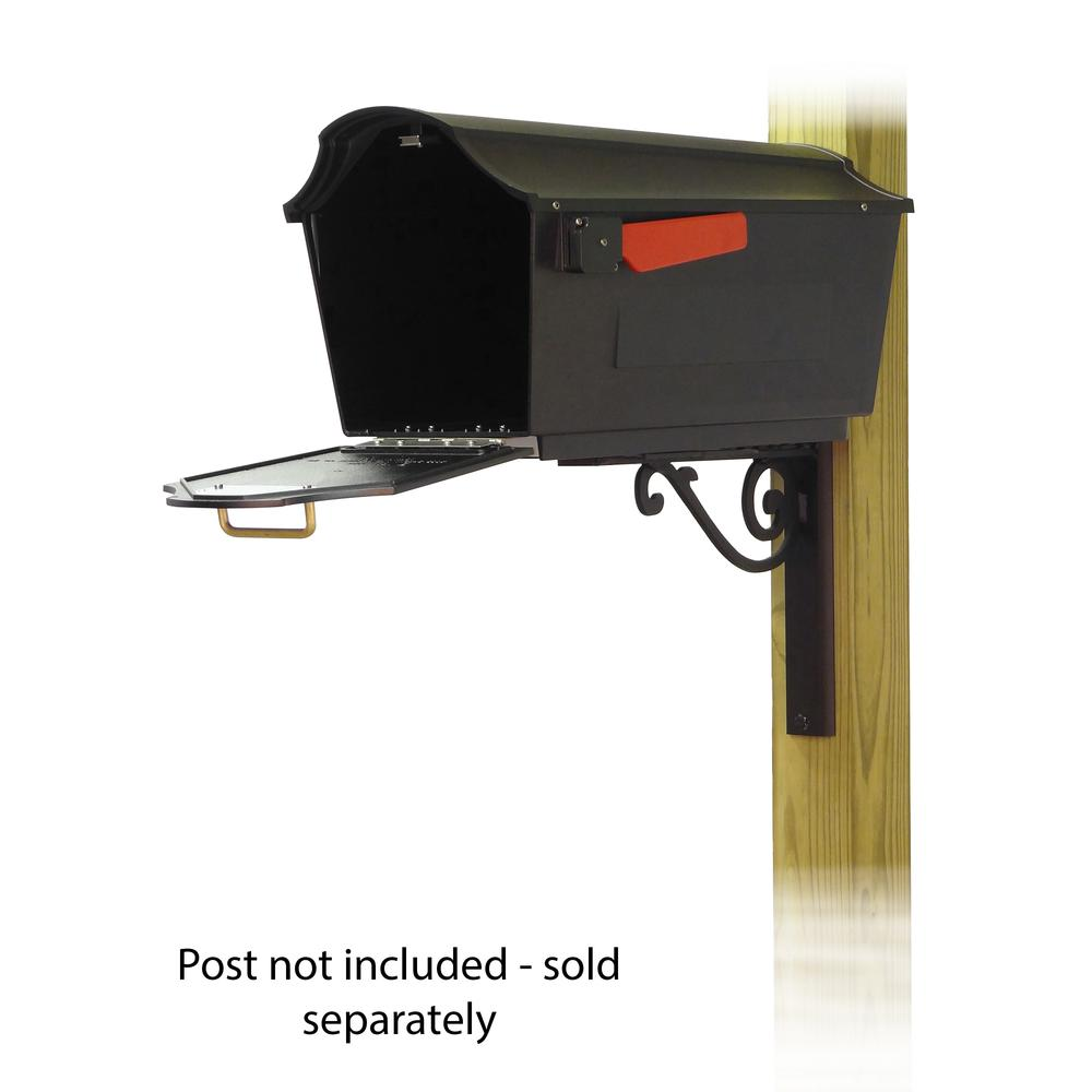 Town Square Curbside Mailbox with Baldwin front single mailbox mounting bracket. Picture 2