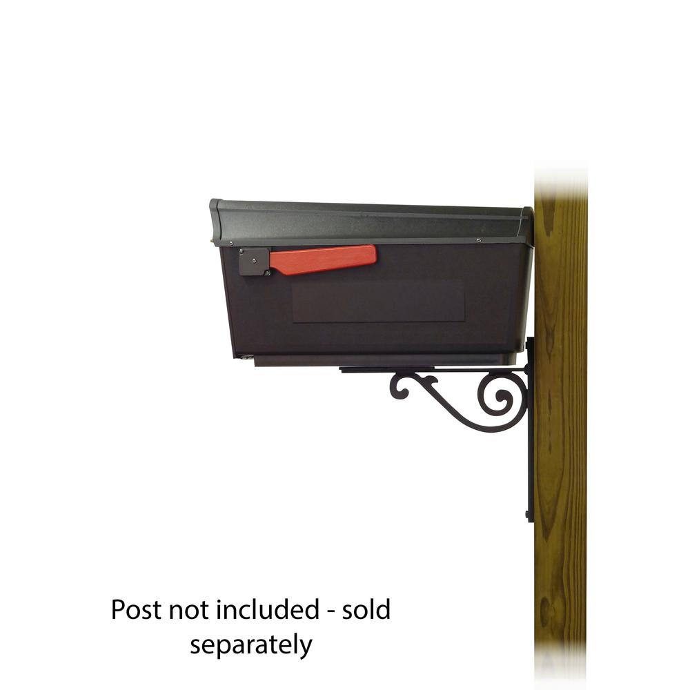 Town Square Curbside Mailbox with Baldwin front single mailbox mounting bracket. Picture 3