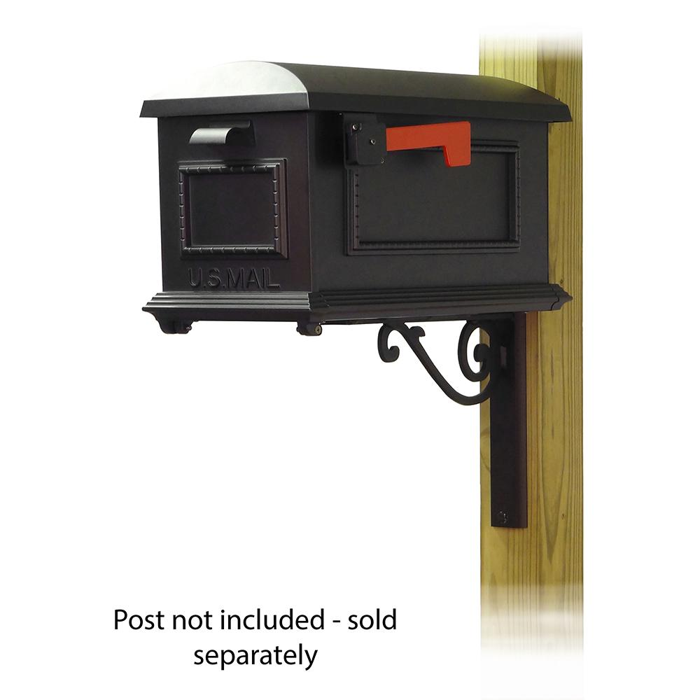 Traditional Curbside Mailbox with Baldwin front single mailbox mounting bracket. Picture 1