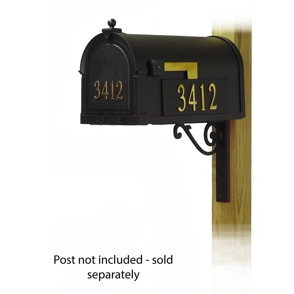 Berkshire Curbside Mailbox with Front and Side Address Numbers and Baldwin front single mailbox mounting bracket. Picture 1
