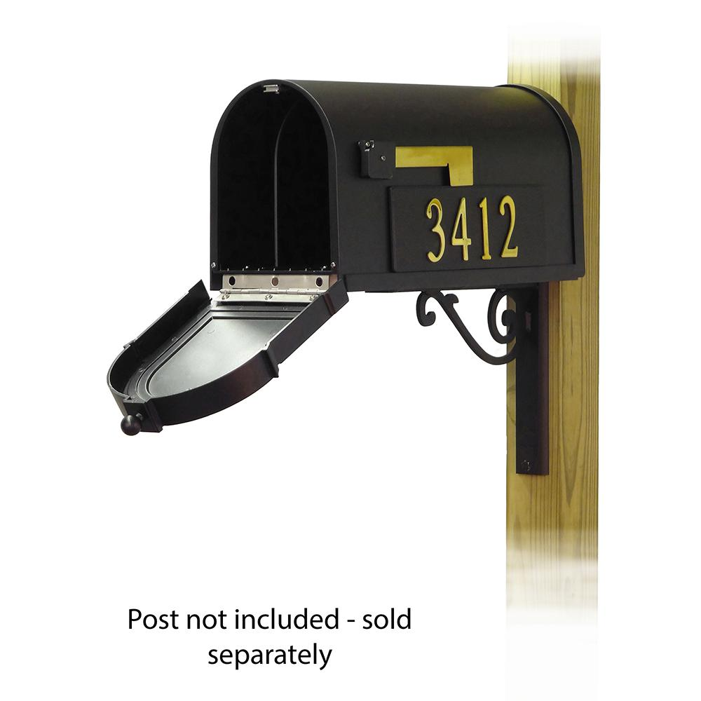 Berkshire Curbside Mailbox with Front and Side Address Numbers and Baldwin front single mailbox mounting bracket. Picture 2
