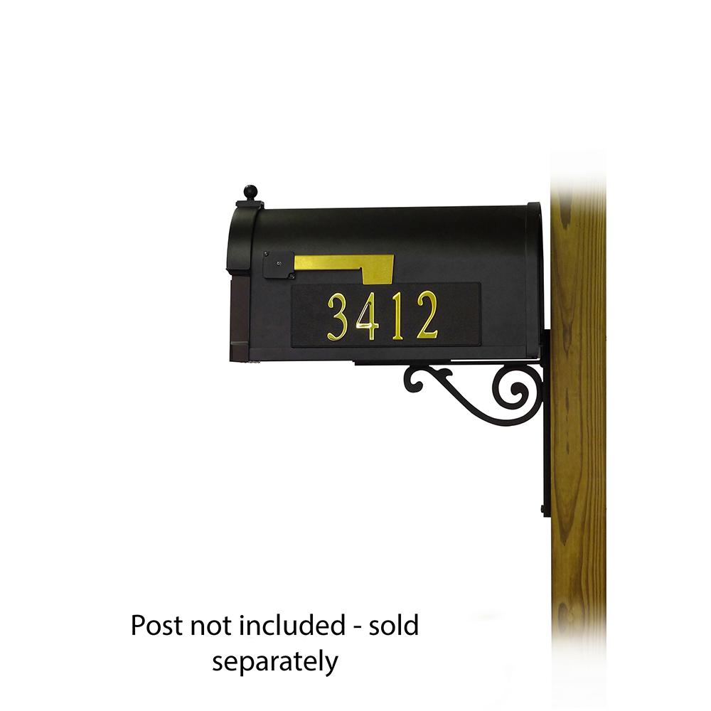 Berkshire Curbside Mailbox with Front and Side Address Numbers and Baldwin front single mailbox mounting bracket. Picture 4