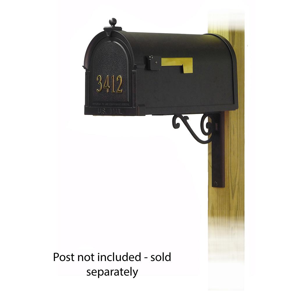 Berkshire Curbside Mailbox with  Front Address Numbers and Baldwin front single mailbox mounting bracket. Picture 1