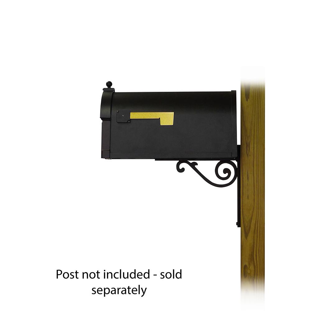 Berkshire Curbside Mailbox with  Front Address Numbers and Baldwin front single mailbox mounting bracket. Picture 3
