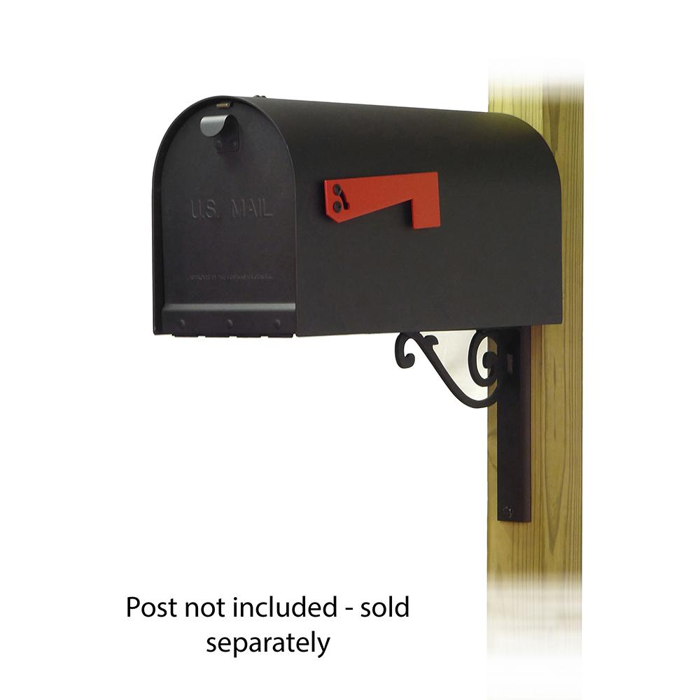 Titan Aluminum Curbside Mailbox with Baldwin front single mailbox mounting bracket. Picture 1
