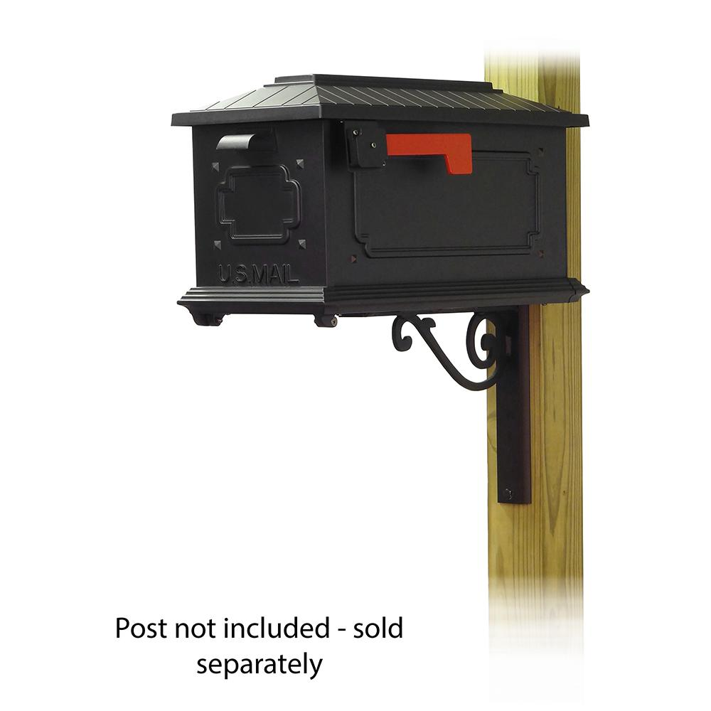 Kingston Curbside Mailbox with Baldwin front single mailbox mounting bracket. Picture 1