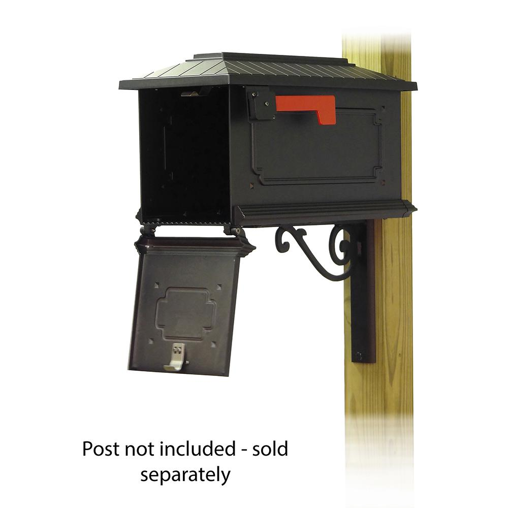 Kingston Curbside Mailbox with Baldwin front single mailbox mounting bracket. Picture 2