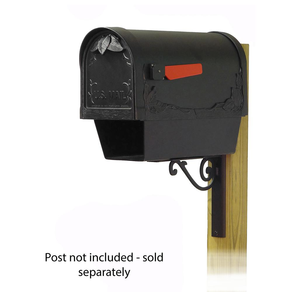 Floral Curbside Mailbox with Newspaper tube and Baldwin front single mailbox mounting bracket. Picture 1