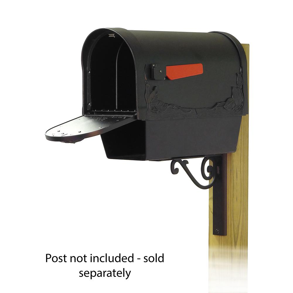 Floral Curbside Mailbox with Newspaper tube and Baldwin front single mailbox mounting bracket. Picture 2