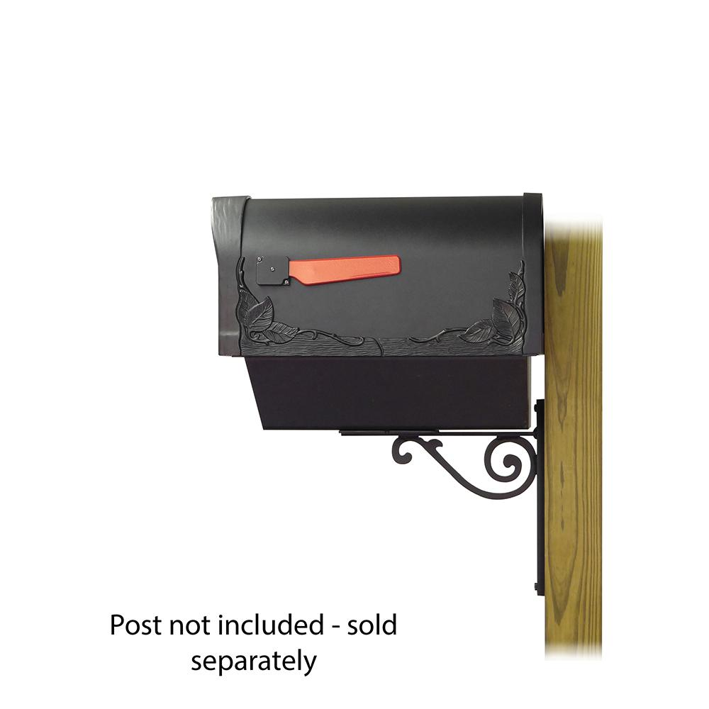 Floral Curbside Mailbox with Newspaper tube and Baldwin front single mailbox mounting bracket. Picture 3