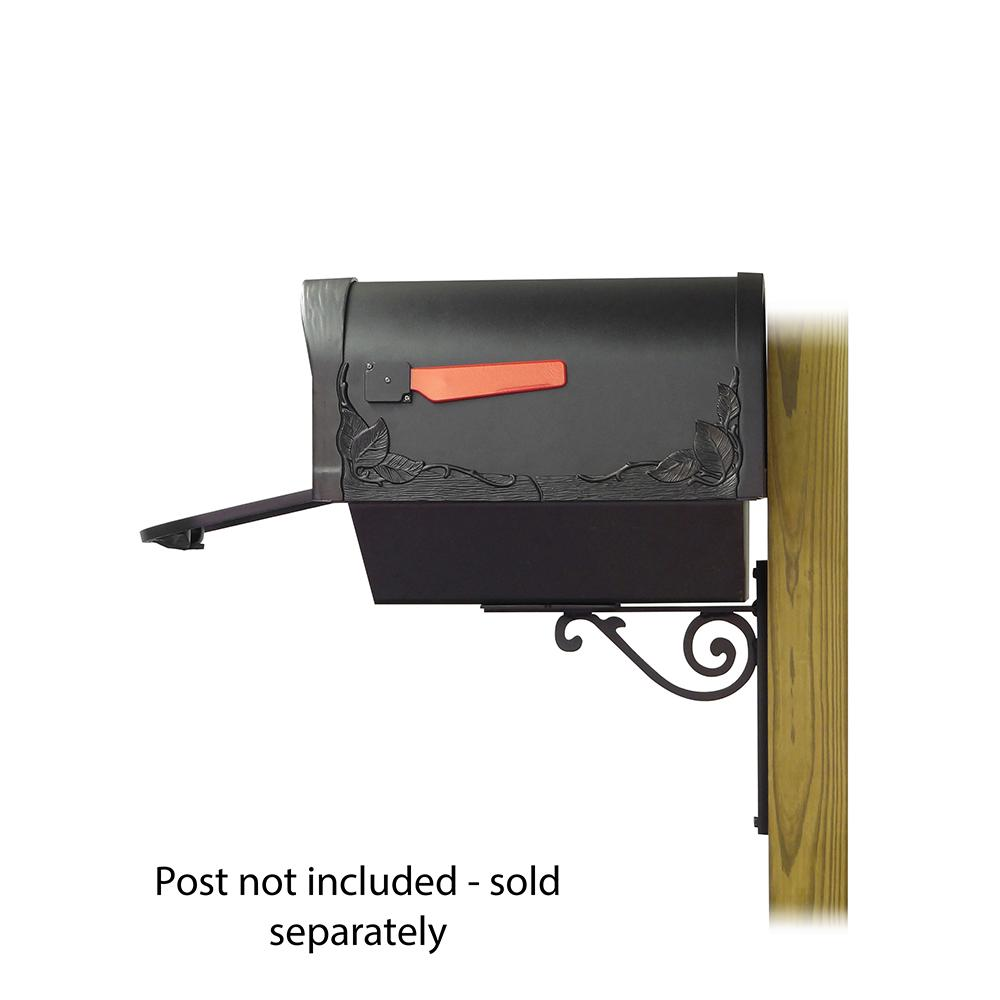 Floral Curbside Mailbox with Newspaper tube and Baldwin front single mailbox mounting bracket. Picture 4