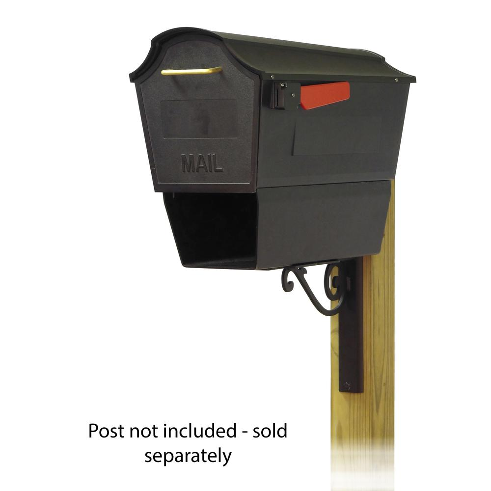 Town Square Curbside Mailbox with Newspaper tube and Baldwin front single mailbox mounting bracket. Picture 1
