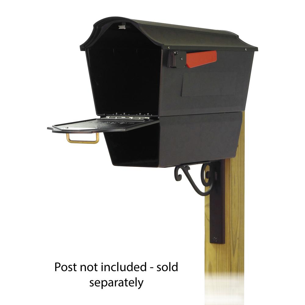 Town Square Curbside Mailbox with Newspaper tube and Baldwin front single mailbox mounting bracket. Picture 2