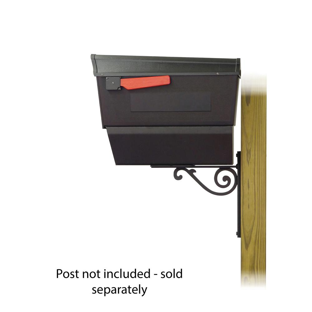 Town Square Curbside Mailbox with Newspaper tube and Baldwin front single mailbox mounting bracket. Picture 3