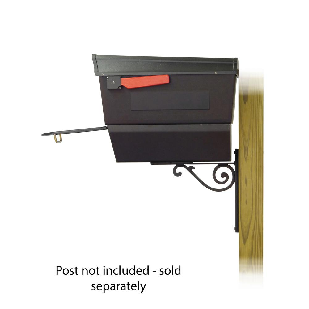 Town Square Curbside Mailbox with Newspaper tube and Baldwin front single mailbox mounting bracket. Picture 4